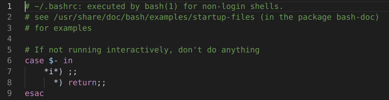 <img>Figure 2 Lines to be commented in .bashrc file. (Line 6 to 9.)